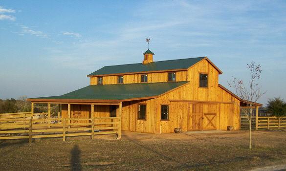 Western Raised Center Pole Barn W 2nd Floor Living Area Brenham TX