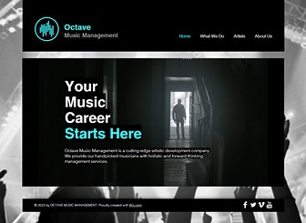 Music Management Template - A bold and grungy template that's not afraid to make some noise. Just add your own videos, text, and images to spread the word about your services. Start editing to get the party started.