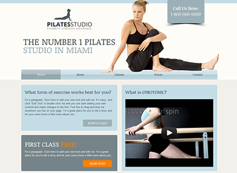 Pilates Classes Template - Perfect for yoga, pilates, and fitness studios, this modern template uses cool colors and subtle design. Add text to promote your classes and upload photos to introduce your facilities and instructors. Create a professional website and build your online presence!
