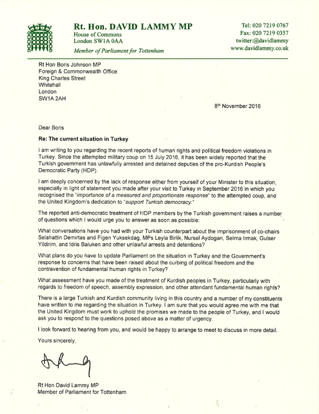 Letter To Boris Johnson On Situation In Turkey Rt Hon