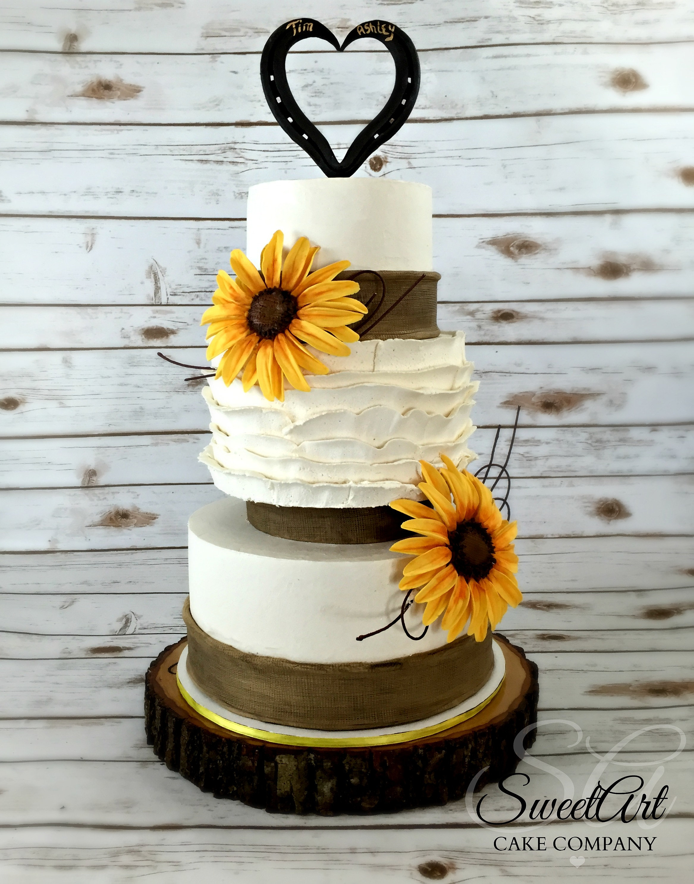 Sweet Art Cake Company Buttercream : SweetArt Cake Company-Shannon Ma Sunflower Fall Wedding Cake