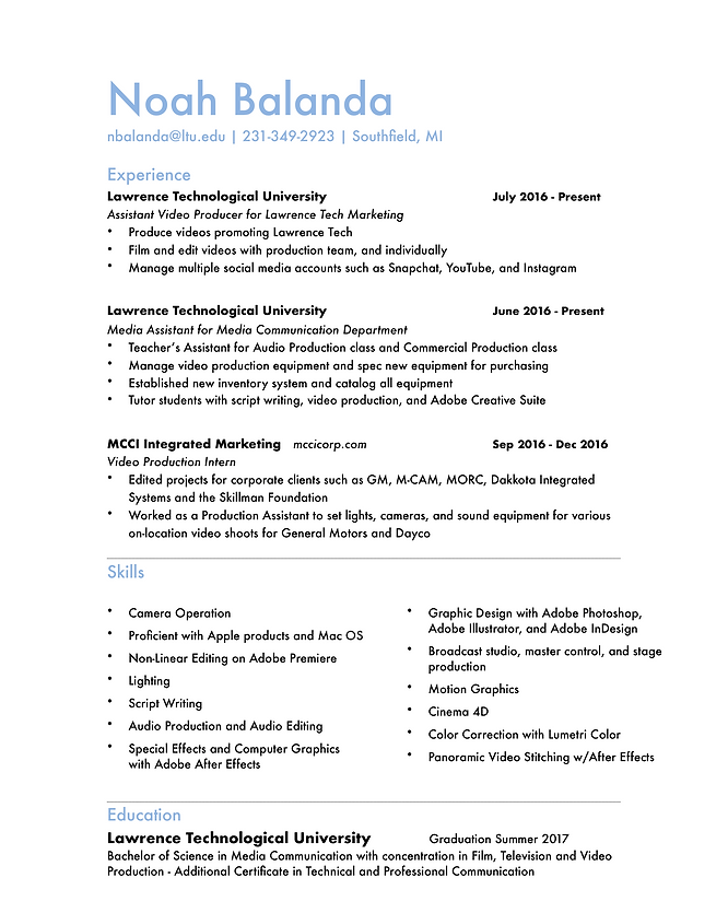 Example of video resume script