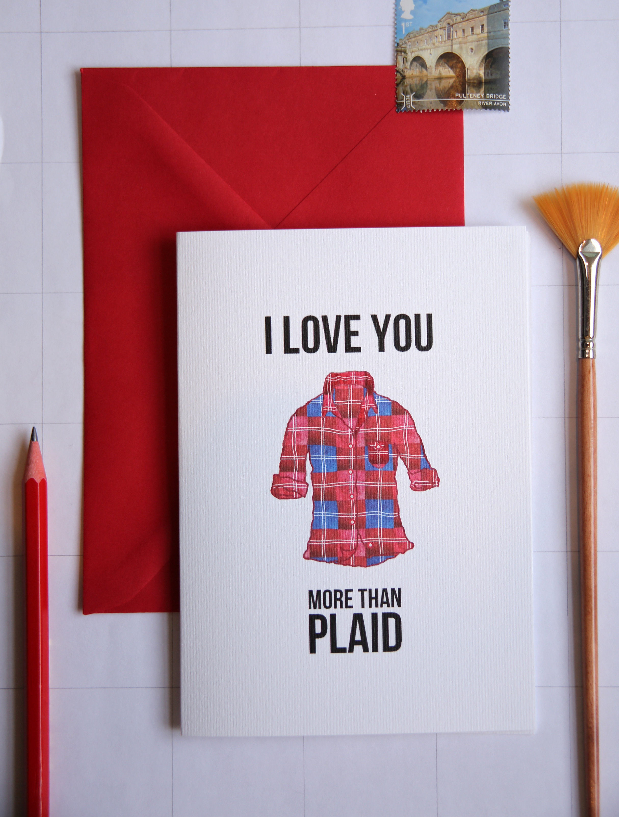Shirt design card - Love You More Than Plaid Hipster Lesbian Flannel Card