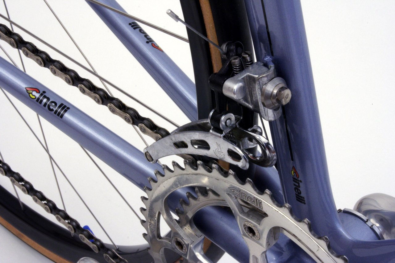 laser front derailleur and chain stays