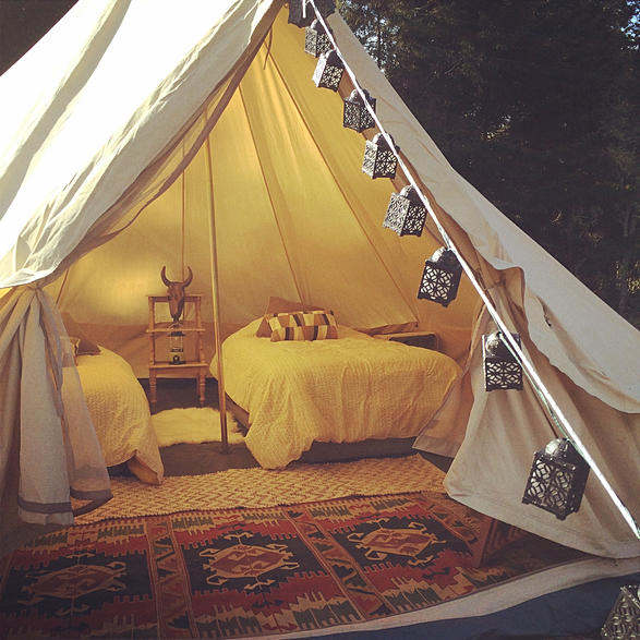 Pioneer Pad Bell tent with two twin beds. Sleeps 2 & Ashley Baker Yoga » Summer Retreat in Sonoma