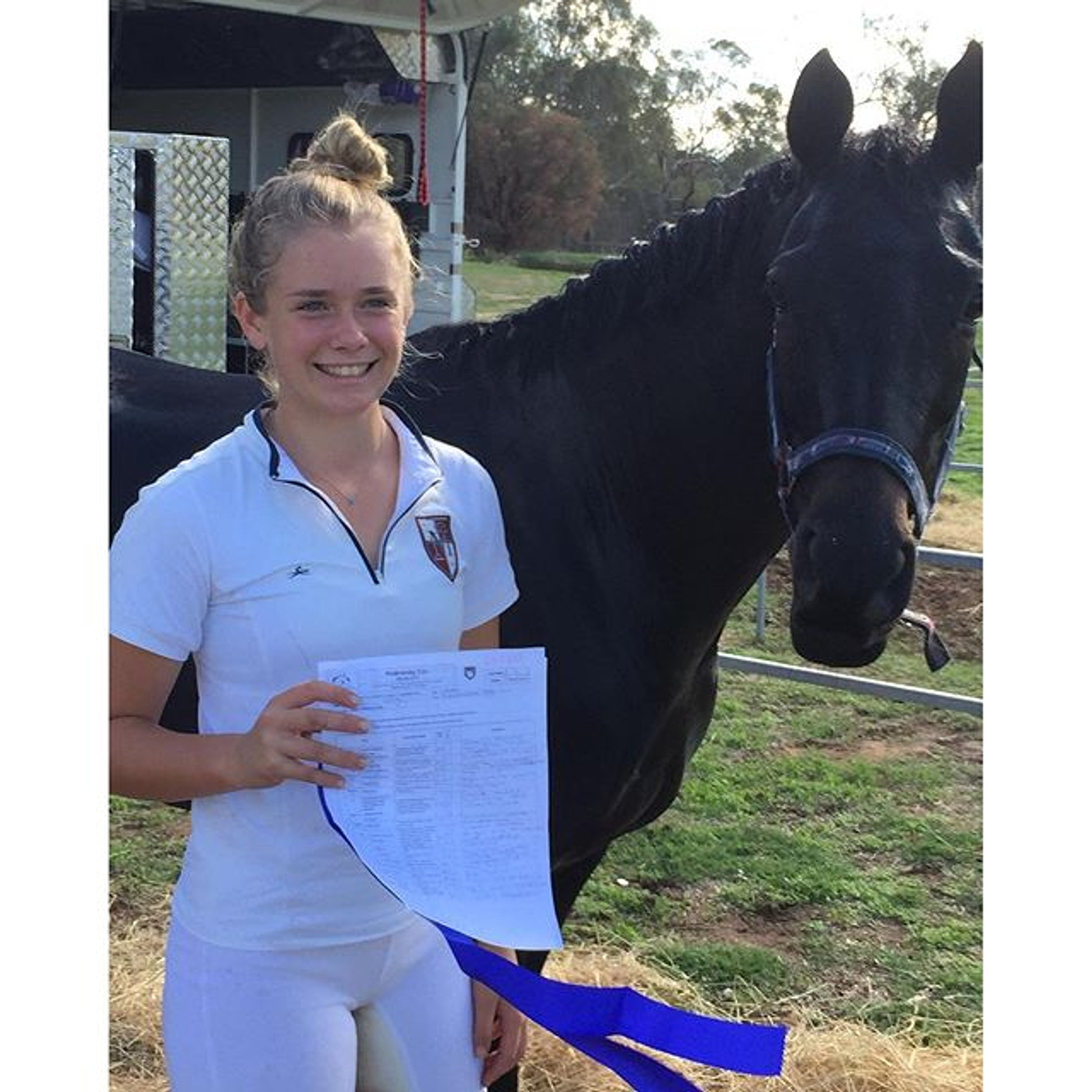 Not sure who had the biggest smile for their first blue ribbon together - mum, kid or horse ��