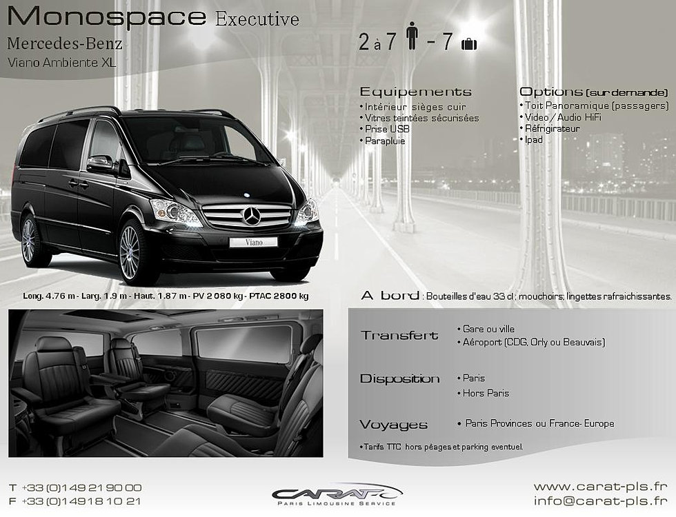 carat paris limousine service location de voiture avec chauffeur mercedes viano ambiente xl. Black Bedroom Furniture Sets. Home Design Ideas
