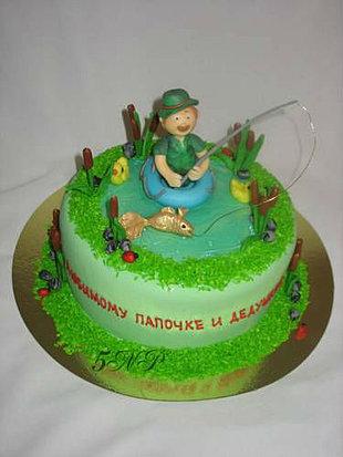 Фото тортов для мужа с изображением рыбака