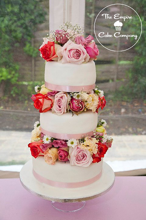 Tier Wedding Cake With Fresh Flowers