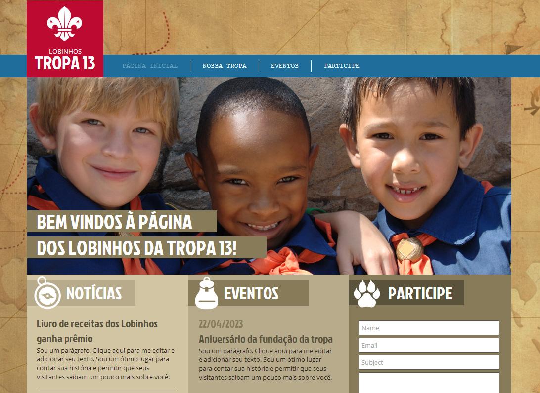 Site dos Escoteiros Template - Consiga que sua tropa de registre com este lindo website. Basta adicionar o seu próprio texto e esteja online hoje!