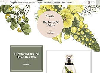 Biokosmetik Template - With a soft color palette and illustrated background, this is the perfect natural themed template to take your range of luxury cosmetics online. Upload images to the product galleries and customize product details to begin. Personalize fonts, images and background colors to create your own unique touch and let your brand standout on the web!