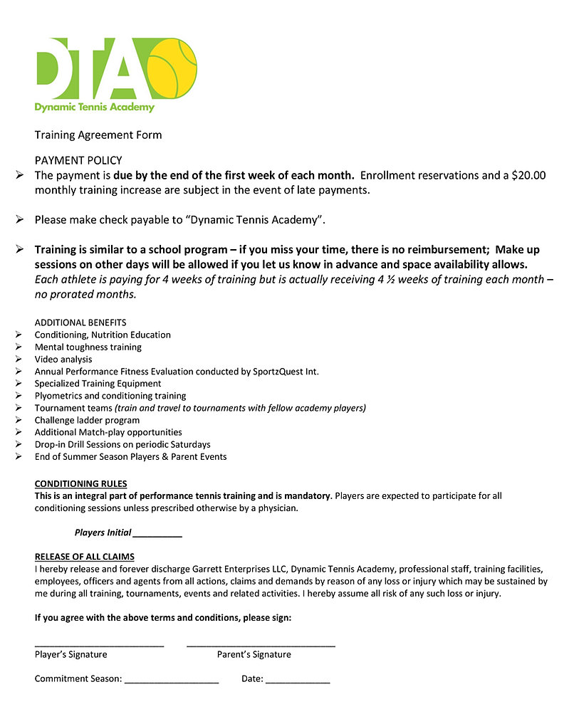 Dynamic Tennis Academy – Training Agreement