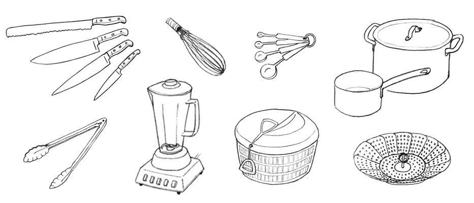 Baking tools and equipment drawing