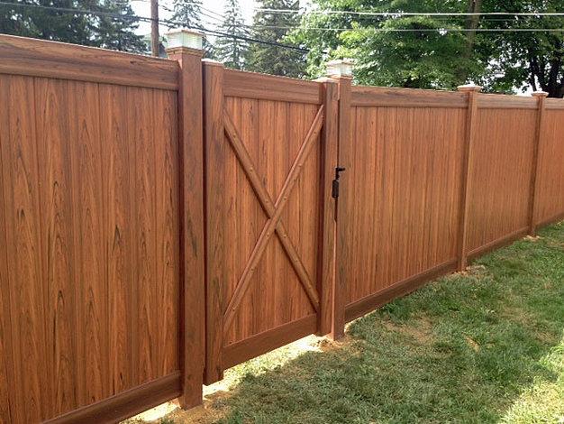 Brown Vinyl Privacy Fence tri-boro fencing contractors | vinyl fencing gallery - residential
