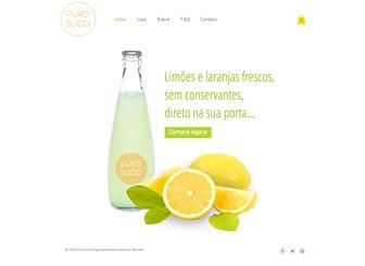 Sucos Template - Um template moderno e vibrante, pronto para apresentar sua linha de produtos saudáveis ao mundo. Inclua fotos para mostrar seus artigos e texto para contar aos internautas sobre o seu negócio. O botão