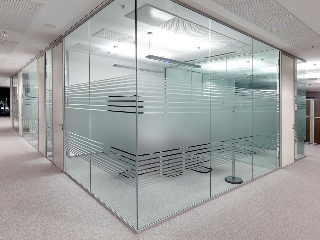 Glass partitions with sandblast sticker design