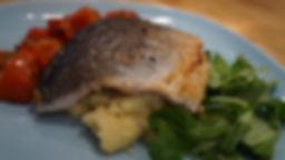 Seabass on Polenta w Roasted Tomatoes.JP