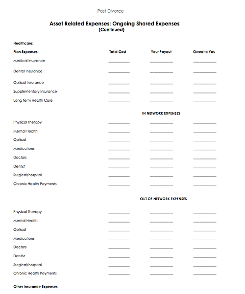 Printables Divorce Asset Worksheet sample pages from divorceapedia asset related expenses post divorce