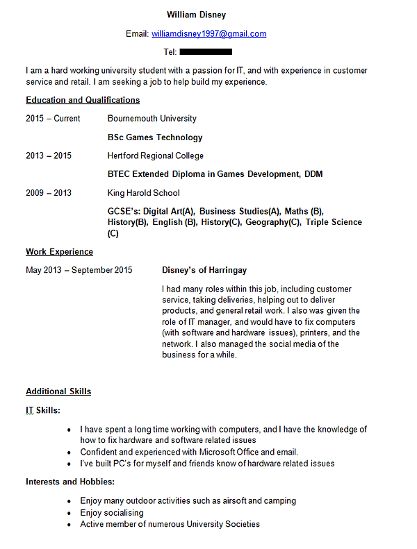 william disney   portfolio   cvattached is a copy of my cv  please feel   to  it and   a copy