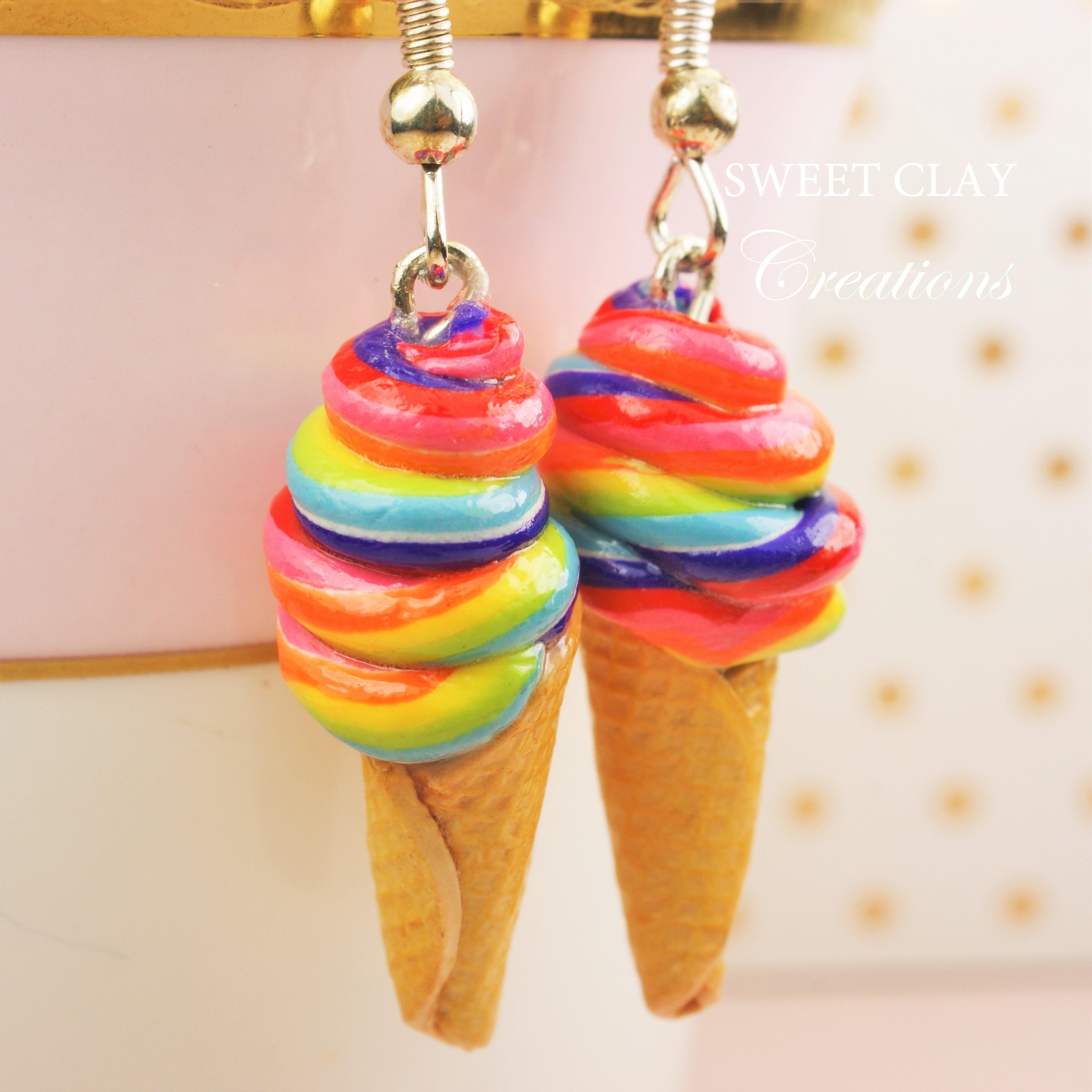 Rainbow Ice Cream Earrings