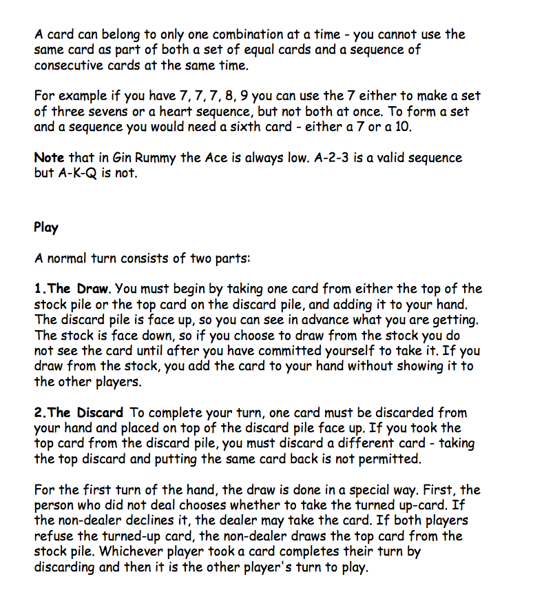 Official Gin Rummy Rules