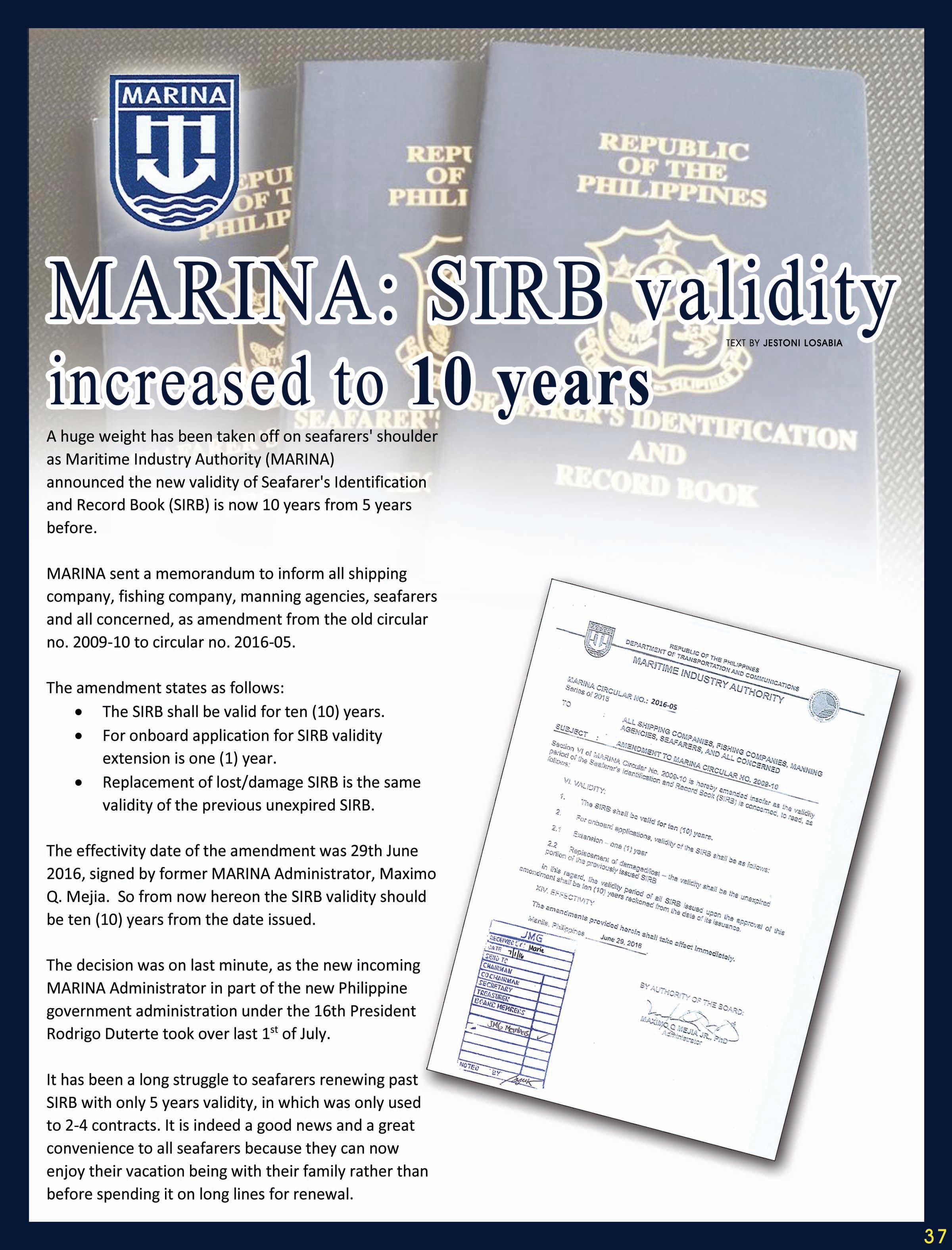 marina sirb validity increased to years eastgatemaritimecorp