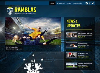 Soccer Fanclub Template - Kick-off your sport's fan site with this fun and dynamic website template perfect for anyone wishing to pay homage to their favorite team, sport or sporting personality. Use the news blog to update all your followers with the latest news from your favorite team and add images, videos and other exciting multimedia to keep your users engaged. Start editing and uploading now to create the ultimate fan page!