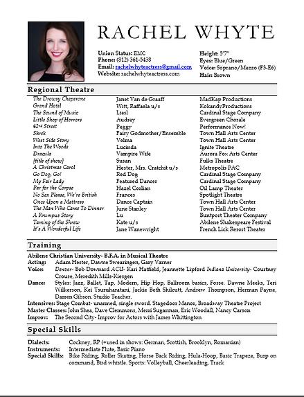 Rachel Whyte Actress- Resume