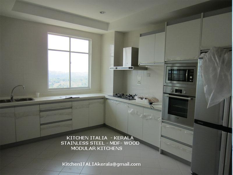 Stainless steel modular kitchen kerala bangalore white for Acrylic paint for kitchen cabinets