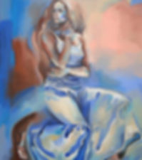 Fanitsa Petrou Art. Painting of a woman in a romantic skirt, buy Art online, big canvas, Realistic Art, realistic painting, Traditional art by Fanitsa Petrou. www.fanitsa-petrou.com