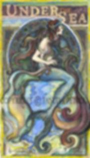 Fanitsa Petrou Art, Mermaid, Art Nouveau, sea, original art, memriad paintings, paintings of dolphins, siren, sailor, calligraphy,