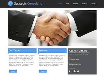 Strategic Consulting Template - A polished website template ready to promote your consulting or financial company. The sharp design and clean layout provide the perfect backdrop to highlight your firm's services, projects, and professional qualifications.
