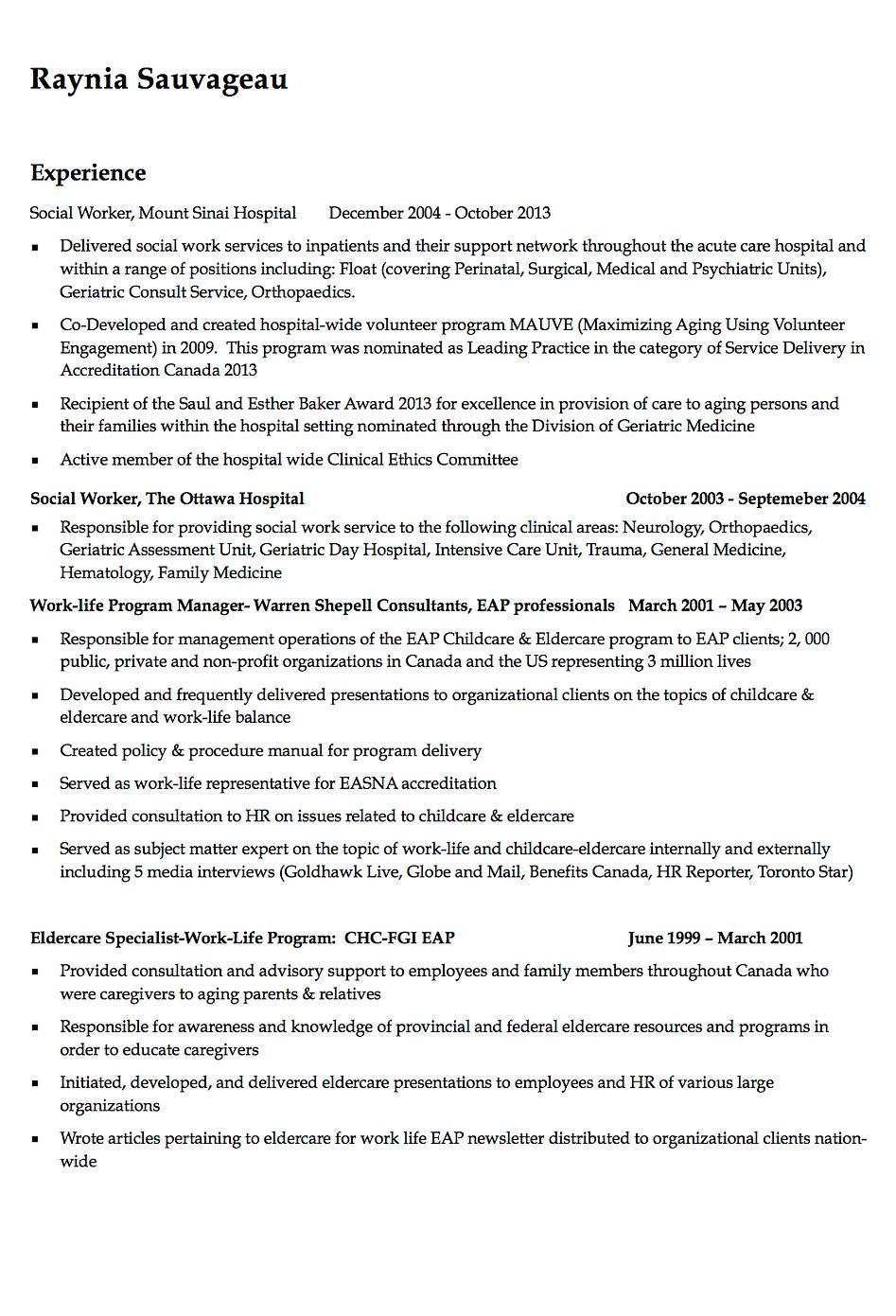 geriatric social work consultant resume social worker resume