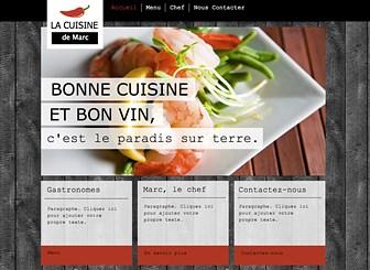 Traiteur Template - Pour votre restaurant ou votre service de traiteur, créez un site web aussi frais que vos produits. Téléchargez des images dans la galerie photo, le menu pour présenter vos plats. Jouez avec la couleur et ajoutez du texte pour construire un site web gratuit digne de vos créations culinaires.