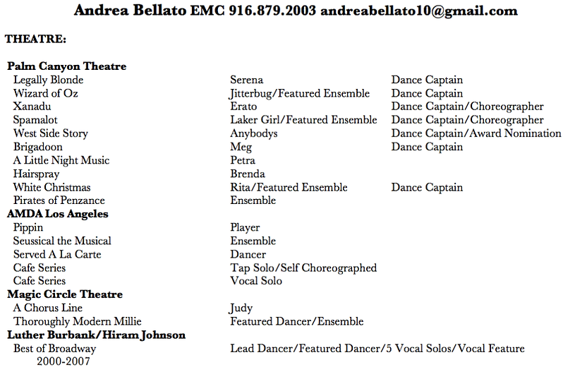 Musical Theatre Resume acting resume sample presents your skills and strengths in details musical theater Andrea Bellato Musical Theatre Resume