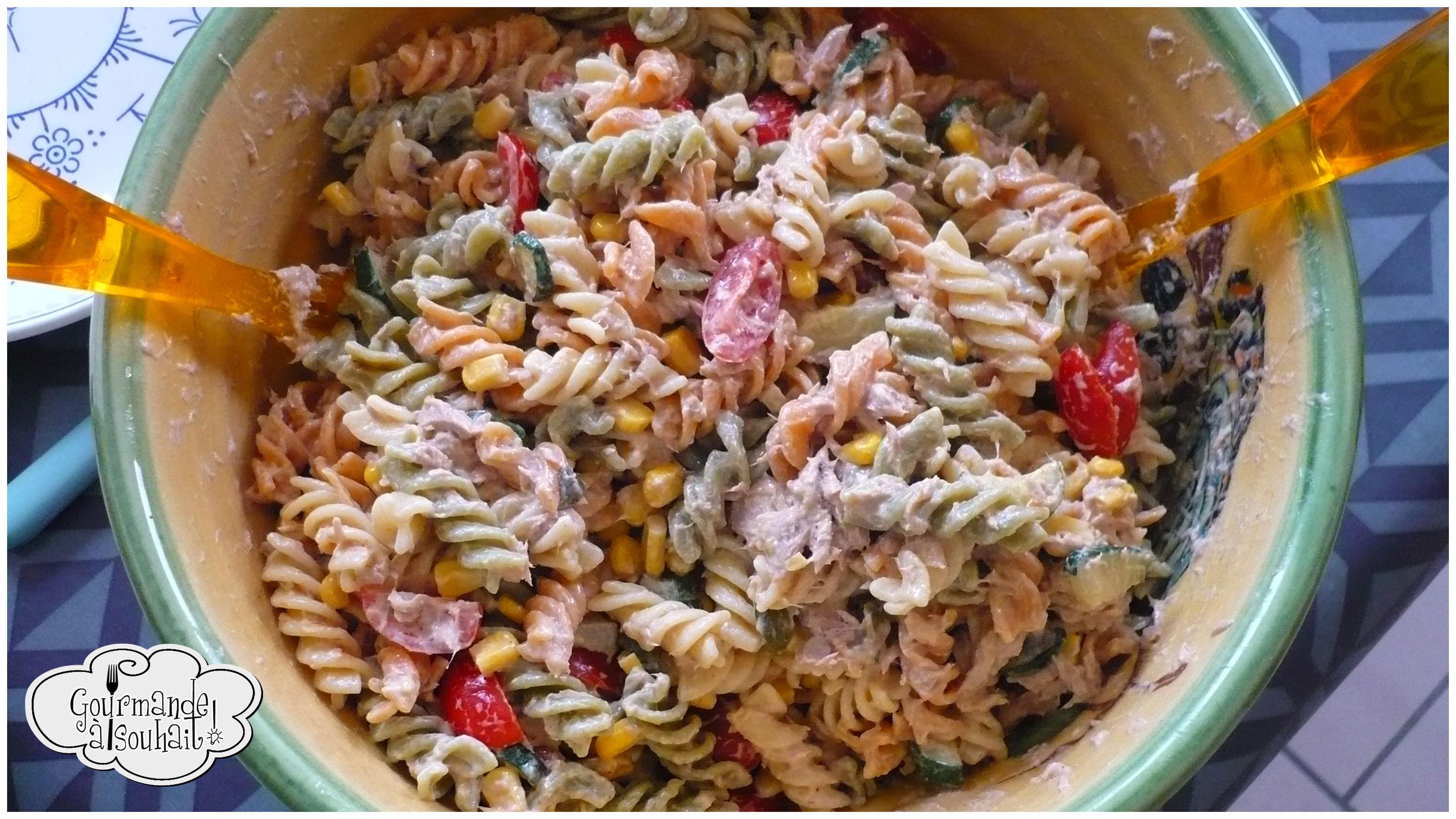 Salade de pâtes froides au thon et aux légumes.