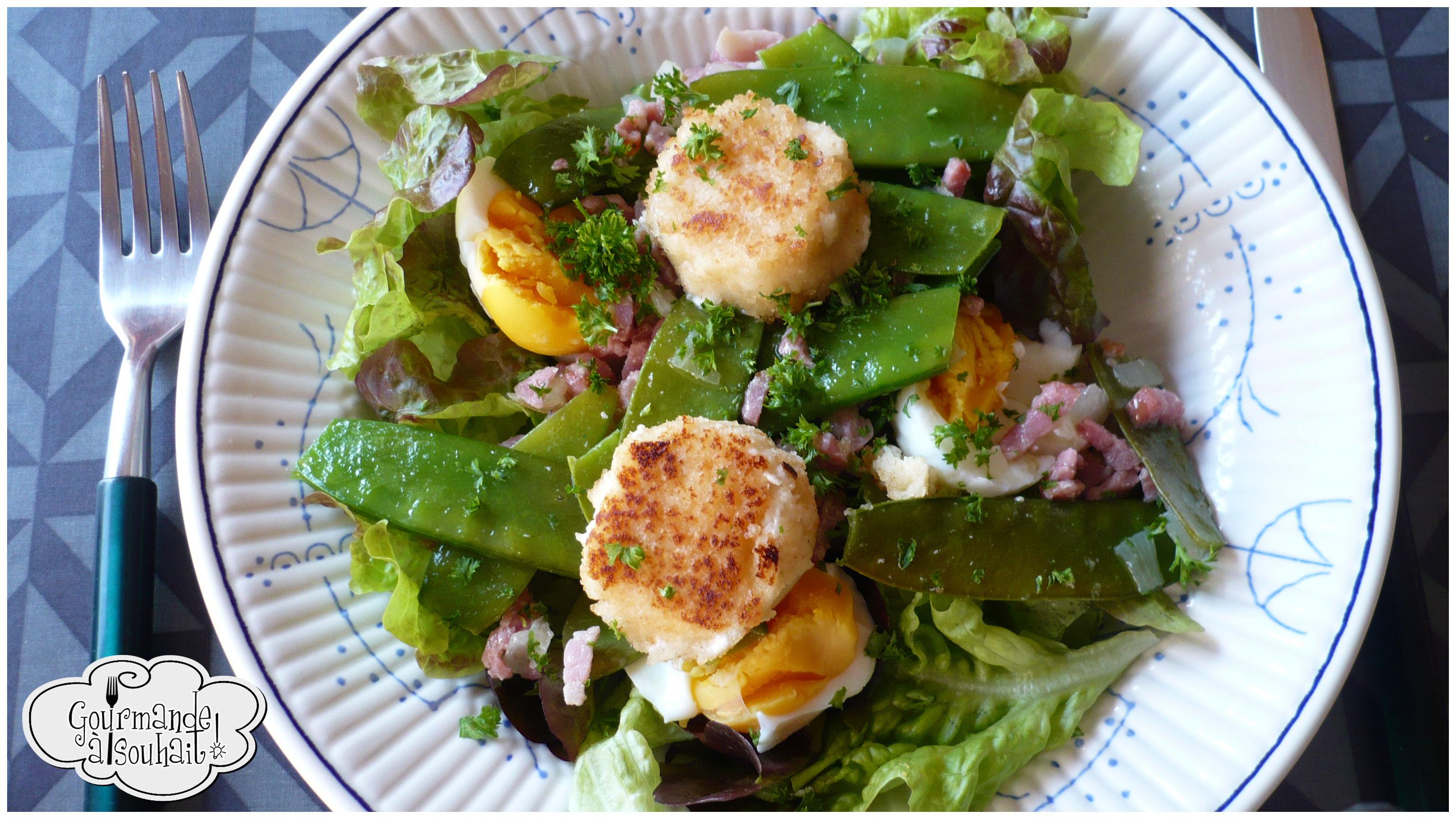Salade ti de au ch vre aux lardons et aux haricots mange for Salade pour accompagner poisson