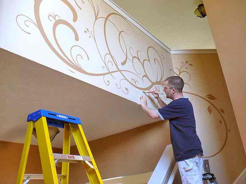 Декор стен красками своими руками фото