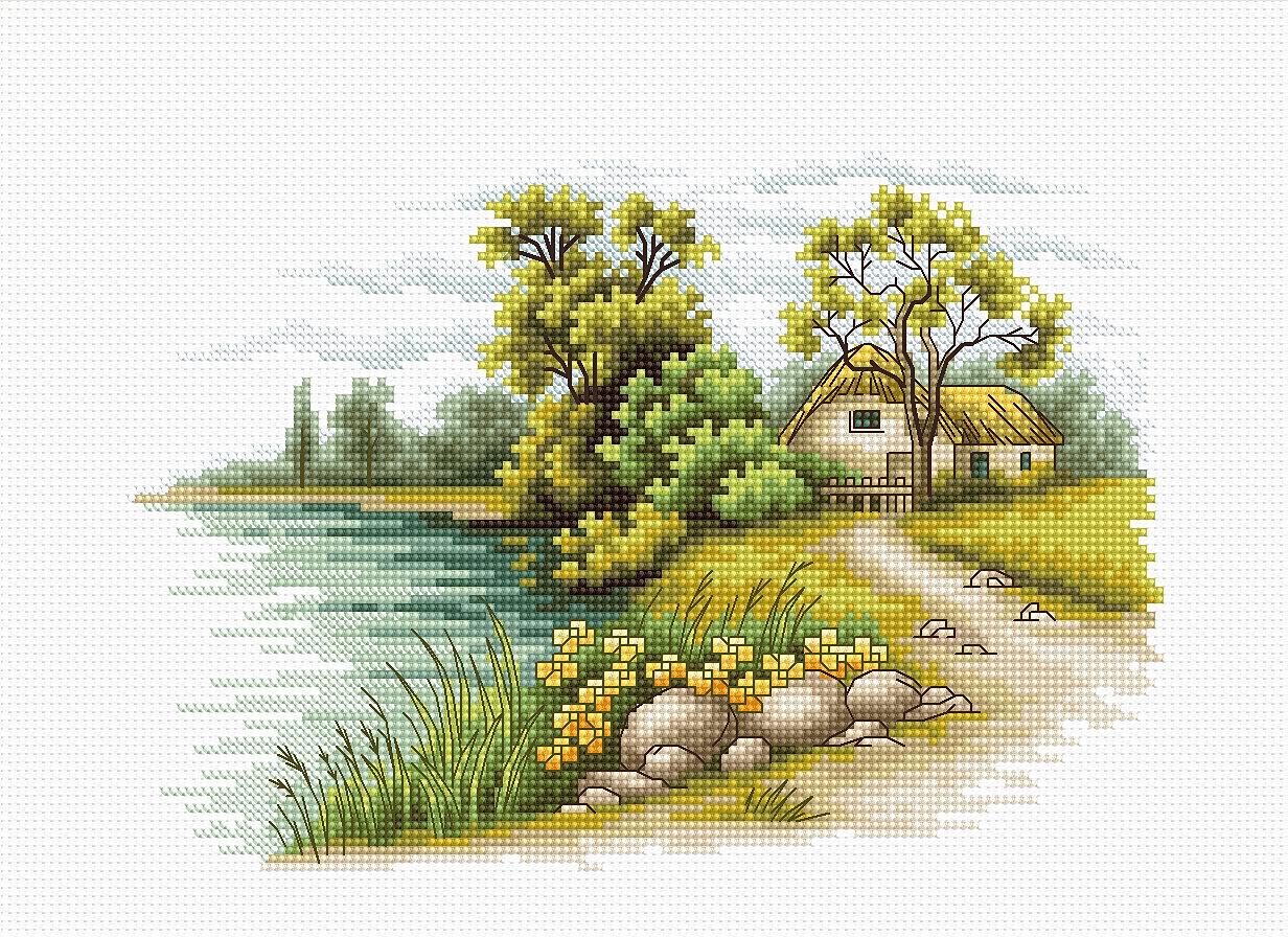 вышивка крестом схемы пейзаж зима