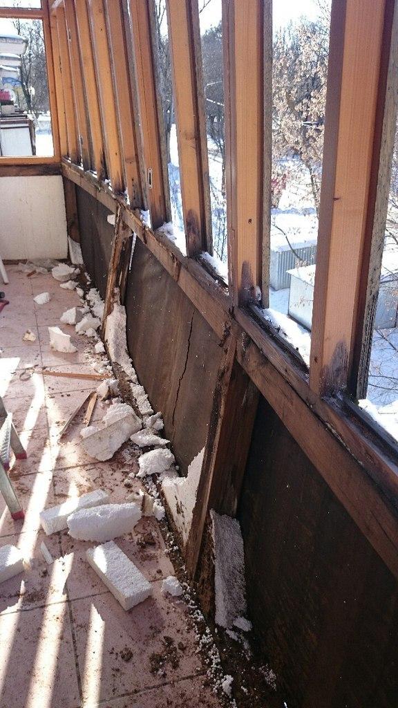 Холодное остекление балкона демонтаж старого. - настройка пе.