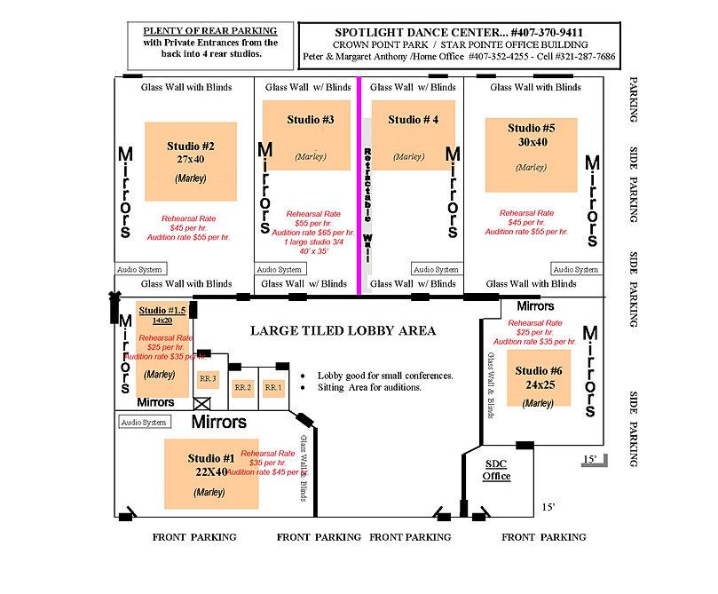 Dance Studio. Floor plan & rental facility information. Spotlight FL