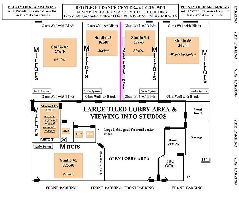Dance Studio Rentals - Floor plan & rental facility information.