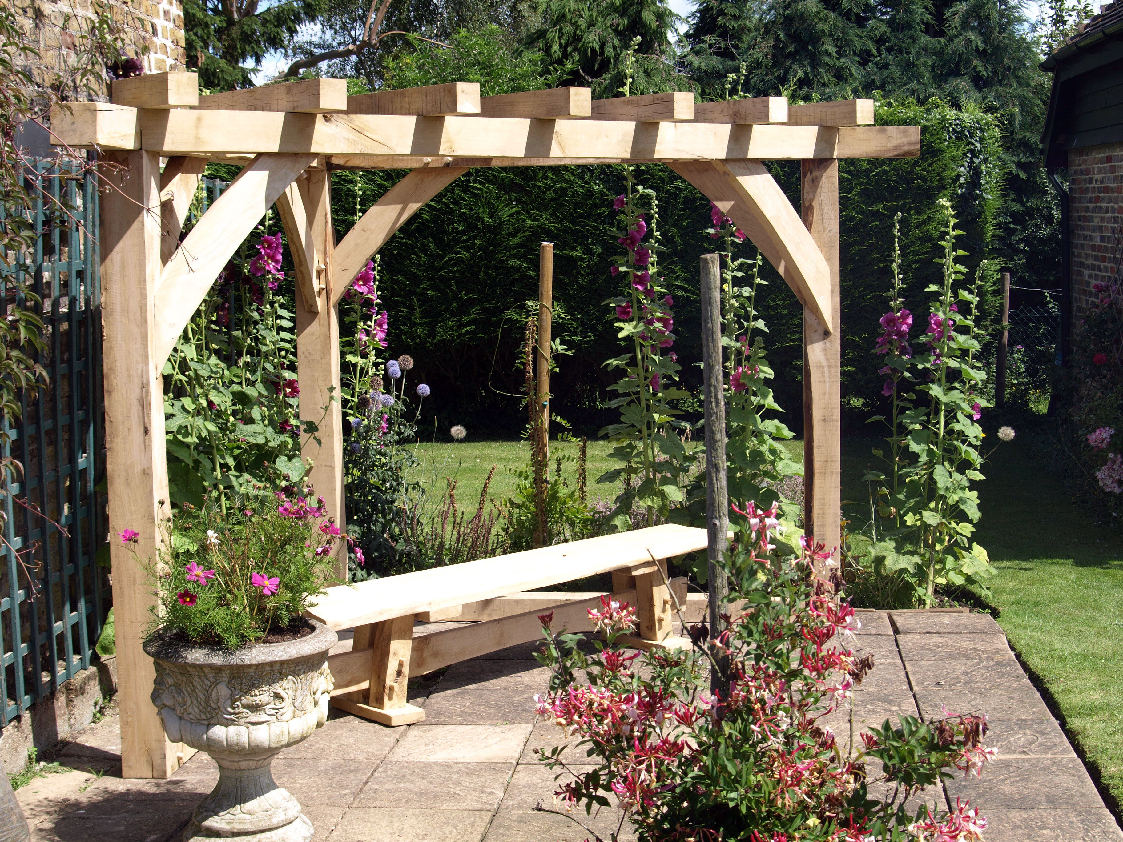 Oak porches rustic furniture mirrors sheds for How to build a corner pergola