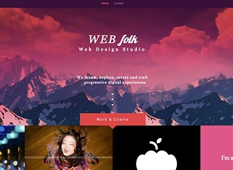 Web Design Studio Template - Show off your work with this bold, exciting template. With a gorgeous portfolio gallery right on the homepage and only one additional page for contact, keep it simple yet stand out from the crowd. Your website should be daring as your work, so look no further.