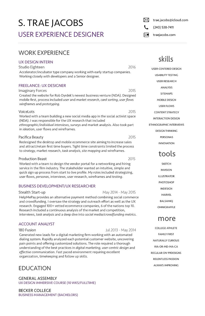 trae jacobs ux designer resume