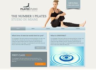 Pilateskurse Template - Perfekt für Joga-, Pilates- und Fitness-Studios. Eine moderne Vorlage mit hellen Farben und einem strukturiertem Layout. Beschreiben Sie Ihre Kurse hinzu und laden Sie Fotos hoch, um Ihre Anlagen und Trainer vorzustellen. Erstellen Sie eine professionelle Website für Ihre Online-Präsenz!