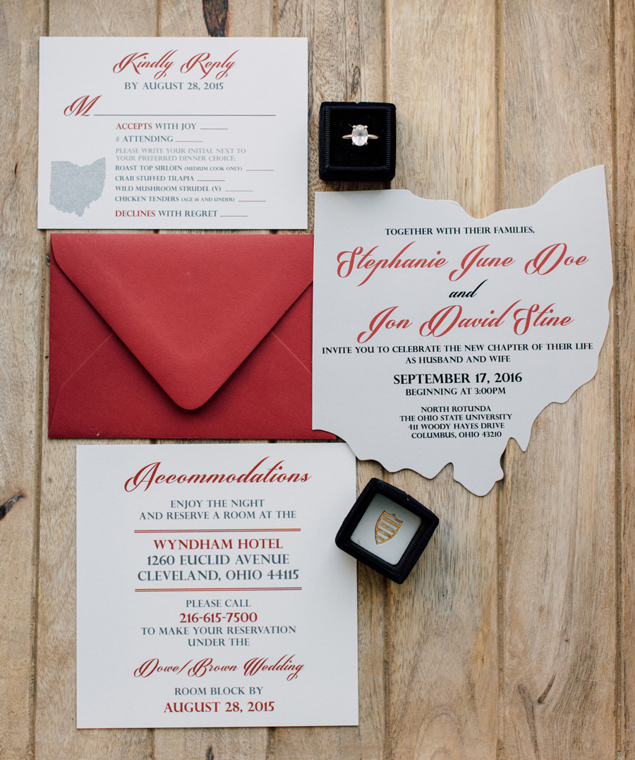 SCARLET AND GRAY OHIO WEDDING INVITATION