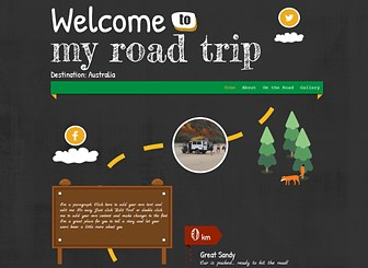 Road Trip Template - A scrapbook style template that captures the adventure of the open road. Upload photos and add text to let family and friends take part in your journey. Customize the fonts, colors, and layout to suit your personal style.