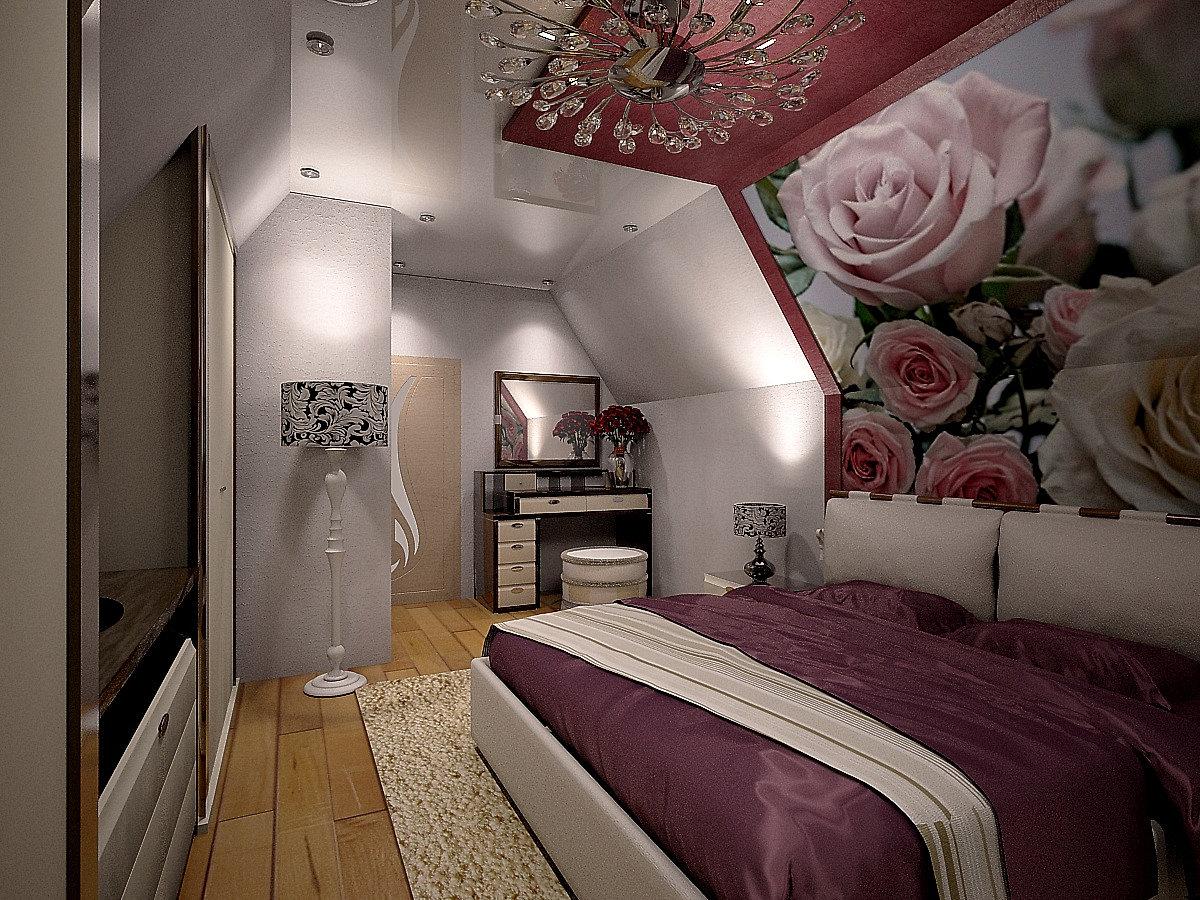 Дизайн мансардной спальни фото