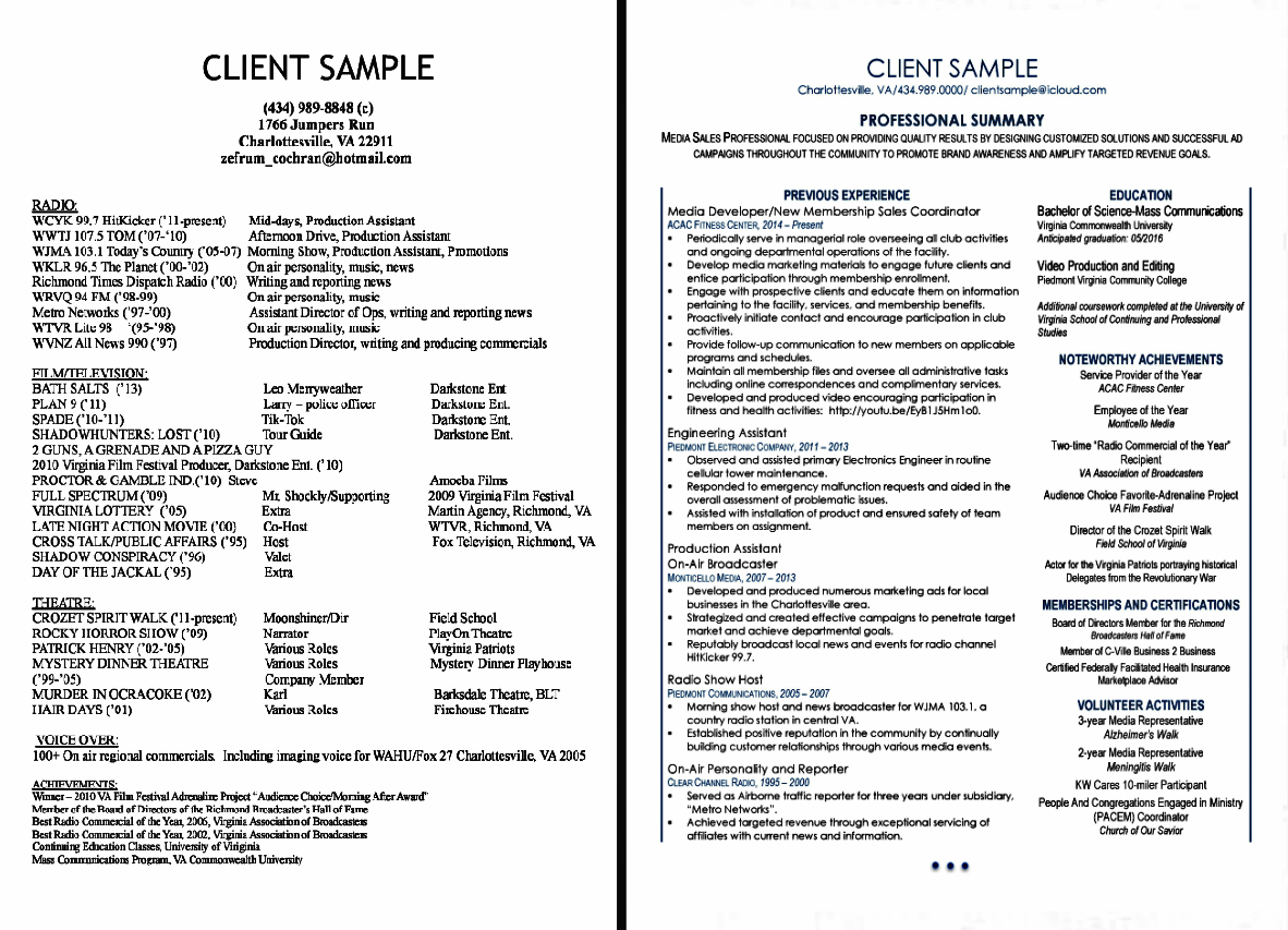 Resume Writing Services - Richmond, VA